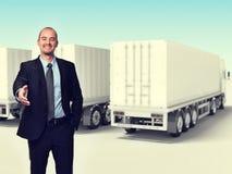 Man och lastbil Arkivbild