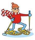 Man och snowhoes royaltyfri illustrationer