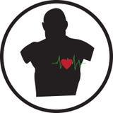 Man och sund hjärta stock illustrationer