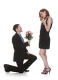 Man Offer Flower To Beautiful Woman Stock Image