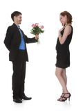 Man offer flower to beautiful woman Stock Photography