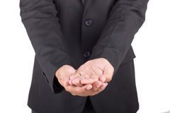 Man offer hand and holding nothing Stock Images