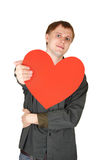 man offer red paper heart, isolated Stock Photography