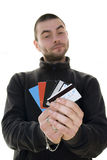 Man offering credit cards Stock Photography