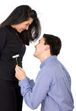 Man offering a flower to his girlfriend Stock Images