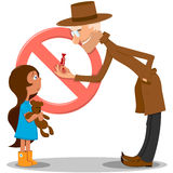 Man offering girl a sweet. Illustration of an weird older man offering a sweet in a red wrapper to a small pretty little girl holding a teddy bear. The stop sign vector illustration