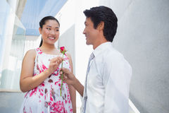 Man offering a red rose to girlfriend Royalty Free Stock Photo
