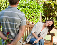 Man offering a rose to his wife Royalty Free Stock Images