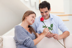 Man offering a rose to his wife Stock Photo