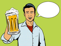 Man offers beer cup pop art style vector Stock Photo