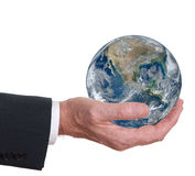Man offers the world, the earth. Corporate responsibility. Envir Royalty Free Stock Photos