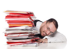 Man at the office. Man behind a office desk Royalty Free Stock Photos