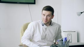 A man in the office in a bad mood stock footage