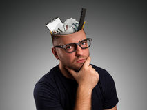Man with office equipment in the head Stock Photos