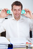 Man in office holding Dollar Royalty Free Stock Photo