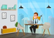 Man In Office Illustration Stock Photos