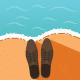 Man office shoes on the sea shore. Summer vacation concept illustration Stock Photos