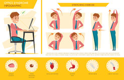 Man office syndrome info graphic and stretching exercise. Vector design stock illustration