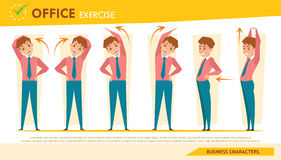 Man office syndrome infographic and stretching exercise set 2 Stock Image