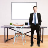 Man in office with whiteboard Stock Image