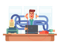 Man office worker multitasking Stock Image