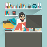 Man office workplace. Hipster, designer style. Stock Images