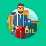 Man with oil barrel and gas pump nozzle. A hipster man with the beard standing near oil barrel. Man holding gas pump nozzle on a city background. Vector flat Stock Photo