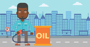 Man with oil can and filling nozzle. An african-american man standing beside the oil can and holding filling nozzle on a city background vector flat design Royalty Free Stock Photo