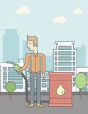 Man with oil can and filling nozzle. A caucasian man standing beside the oil can and holding filling nozzle on city background. Vector line design illustration Royalty Free Stock Image