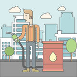 Man with oil can and filling nozzle. A caucasian man standing beside the oil can and holding filling nozzle on city background. Vector line design illustration Stock Photos