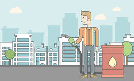 Man with oil can and filling nozzle. A caucasian man standing beside the oil can and holding filling nozzle on city background. Vector line design illustration Stock Images