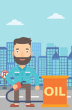 Man with oil can and filling nozzle. A hipster man with the beard standing beside the oil can and holding filling nozzle on a city background vector flat design Royalty Free Stock Photos
