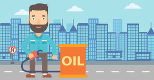 Man with oil can and filling nozzle. A hipster man with the beard standing beside the oil can and holding filling nozzle on a city background vector flat design Stock Photography