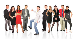 Man with OK gesture and other people stock images