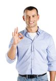 Man with Okay gesture Stock Photography