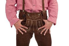 Man with oktoberfest leather trousers Royalty Free Stock Photos