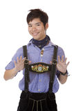 Man in Oktoberfest Leather trousers (Lederhose) Stock Photography