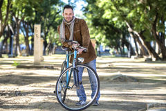 Man with old bike Royalty Free Stock Photo