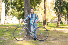 Man with old bike Royalty Free Stock Photography