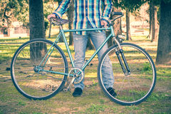 Man with old bike Royalty Free Stock Image