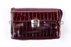 Man old brown leather bag. Royalty Free Stock Images