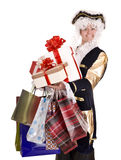 Man in old costume and gift box shopping. Stock Photos