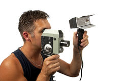 Man with old fashion film camera Stock Photos