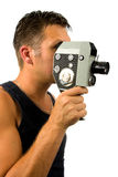 Man with old fashioned film camera Stock Photography