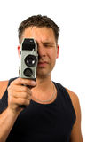 Man with old fashioned film camera Royalty Free Stock Photos