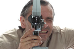 Man with old film camera Royalty Free Stock Photo