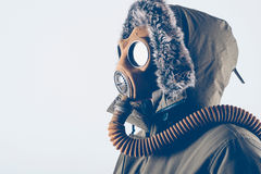 Man with old gas mask Royalty Free Stock Image