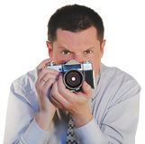 Man with a old photo camera Royalty Free Stock Photos