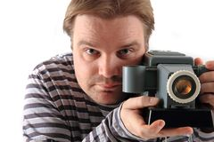Man and old projector Stock Images