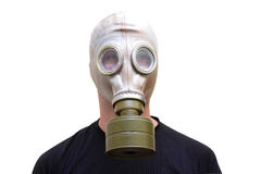 Man with old style gas mask isolated on white background, front Royalty Free Stock Images